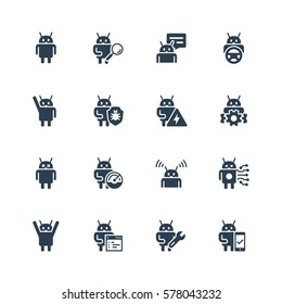 Robot or bot related vector icon set