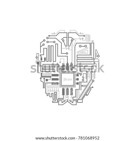 Robot Brain Shown Digital Circuit Scheme Stock Vector Royalty Free