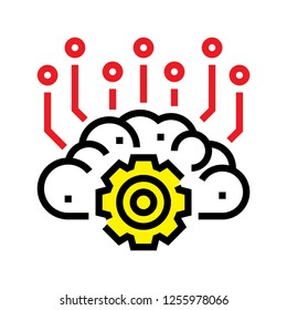 Robot brain technology icon