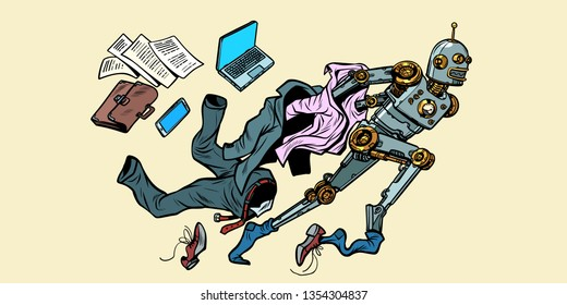 The robot breaks out of human stereotypes. New life. Pop art retro vector illustration vintage kitsch
