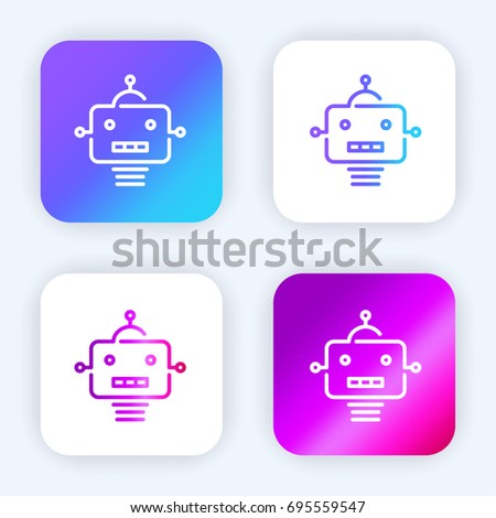 Robot Bright Purple Blue Gradient App Stock Vector (Royalty