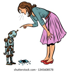 robot broke the phone. Woman scolds guilty. Pop art retro vector illustration vintage kitsch