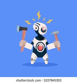 Robot Broken Hold Hammer On Blue Background Concept Modern Artificial Intelligence Technology Flat Vector Illustration