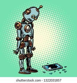 Robot and broken phone screen. Pop art retro vector illustration vintage kitsch