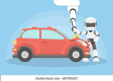 Robot and car. Automatic car repair with new technology.