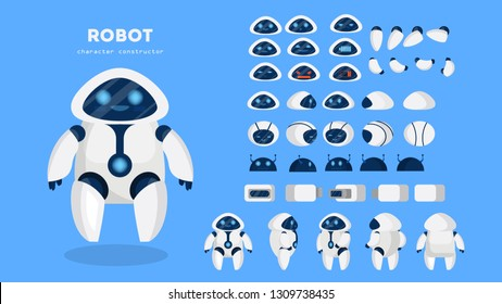 Robot character for the animation with various views, hairstyle, emotion, pose and gesture. Artificial inteligence and cyborg. Isolated vector illustration in cartoon style