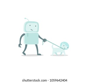 Robot character astronaut man walk with dog on a leash. Flat color vector illustration