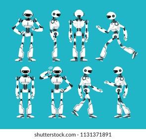 Robot character. Cartoon robotic mechanism, humanoid vector set. Humanoid and cyborg, character robot mechanical illustration