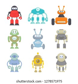 robot character icons set