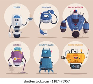 Robot character. Technology, future. Cartoon vector illustration. Friendly android assistant