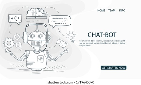 robot chat bot, conducts online chat, For a Website Or Mobile Applications, Artificial Intelligence Concept, contour Vector Illustration in the Doodle style