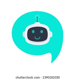 Robot chatbot head icon sign in the speech bubble flat style design vector illustration isolated on white background. Cute AI bot helper mascot character concept symbol business assistant.