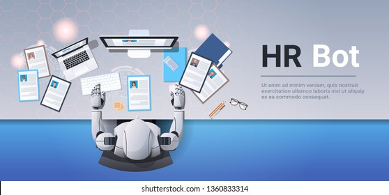 robot choosing cv resume profile business people to hire hr bot workplace curriculum vitae recruitment candidate job position top angle view desktop copy space horizontal