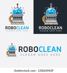 Robot Cleaner Cartoon Logo