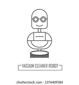 Robot cleaner modern lines. Vector illustration in outline style. Robotic home cleaner for the web.