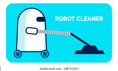 Robot Cleaner Promo Banner Flat Vector Template. Cartoon Cyborg Pushing Vacuum Cleaner. Artificial Intelligence Helping in Housekeeping, Domestic Chores, Housework. Electronics for Housewives