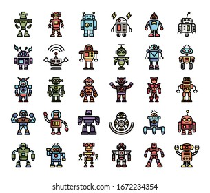 robot color outline vector icons