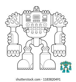 Robot Coloring book. Cyborg warrior future for children. Vector illustration
