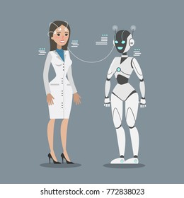 Robot connecting with woman scientist. Concept of development.