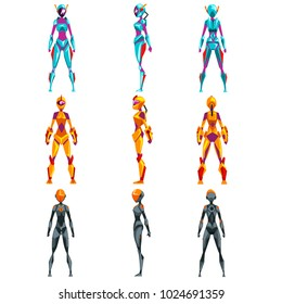 Robot costumes set, superhero woman vector Illustrations
