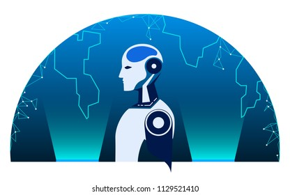 Robot cybernetic and earth globe. AI artificial intelligence future technology concept. Vector Illustration.