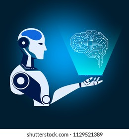 Robot cybernetic holds smartphone show virtual reality electronic circuit brain. AI artificial intelligence future technology concept. Vector Illustration.