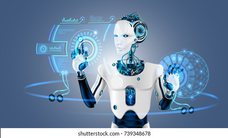 Robot cybernetic organism works with a virtual HUD interface in augmented reality. Humanoid robot with a plastic face presses the button on the digital screen. Future concept.