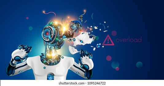 Robot or cyborg with artificial intelligence failures overloaded and broken down. AI not coped with the task. Artificial brain glitch and exploded. Destroy Robot head. Future concept.