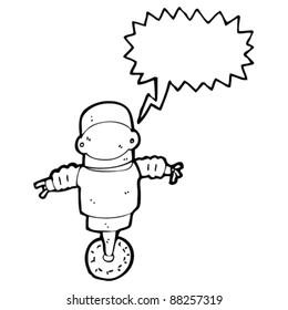 robot cyborg with speech bubble