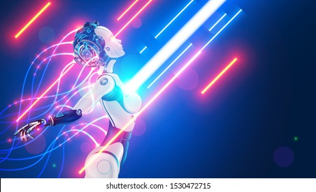 Robot or cyborg with wires sticking out is in the flow of digital information. Beautiful female cybernetic humanoid organism with artificial intelligence. Automaton or machine with AI processes data.
