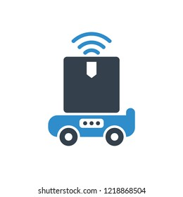 robot delivery a product box icon on white background
