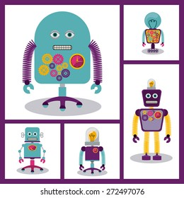 Robot design over white background, vector illustration