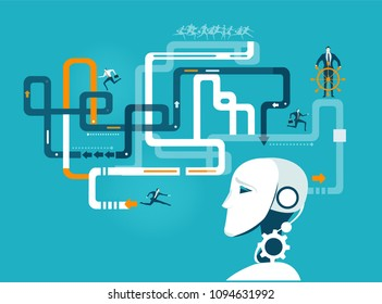 Robot developing and organising business way for humans.