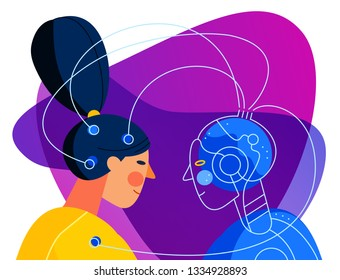 Robot development concept. Connection with human scientist