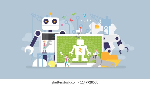 Robot Development Technology Tiny People Character Concept Vector Illustration, Suitable For Wallpaper, Banner, Background, Card, Book Illustration, And Web Landing Page