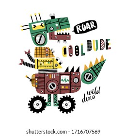 Robot dinosaur growls. A dinosaur consists of different mechanisms, levers, buttons and bolts. Can be used for shirt design, fashion print design, kids wear, textile design, greeting card.