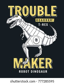 Robot dinosaur vector illustration for t-shirt print and other uses.