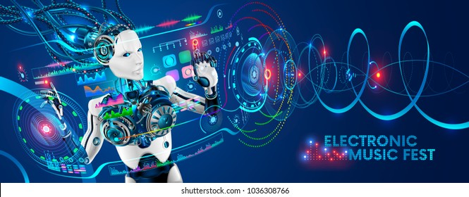 Robot disc jockey at virtual reality turntable. Cyborg DJ plays on sound mixer station at nightclub during party. Electronic music festival background. Robot tweak various track controls on dj deck.