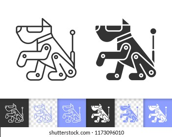 Robot Dog black linear and silhouette icons. Thin line sign of scottish terrier. Boxer outline pictogram isolated on white, transparent background. Vector Icon shape. Robot Dog simple symbol closeup