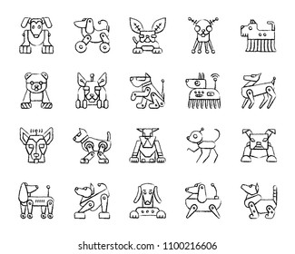 Robot Dog charcoal icons set. Outline web sign kit of pet. Character linear icon collection includes transformer, machine, cyborg. Simple hand drawn robot dog symbol on white. Vector Illustration