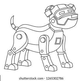 Robot Dog Printable Coloring Page Kids Stock Vector Royalty Free 1265302786