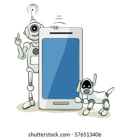 Robot and robot dog with smart phone or tablet , The friendly robot with a funny robot dog, vector illustration