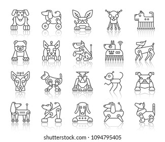 Robot Dog thin line icons set. Outline web sign kit of pet. Character linear icon collection includes transformer, machine, cyborg. Simple robot dog symbol with reflection vector Illustration