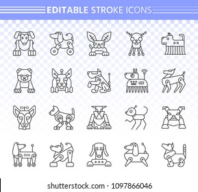 Robot Dog thin line icons set. Outline web sign kit of pet. Character linear icon collection includes transformer, machine, cyborg. Editable stroke without fill. Robot Dog simple vector symbol