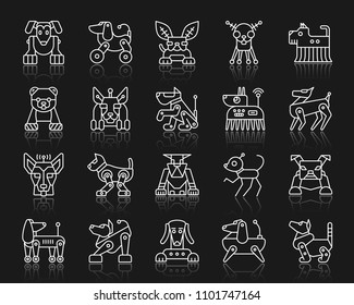 Robot Dog thin line icons set. Outline web sign kit of pet. Character linear icon collection includes transformer, machine, cyborg. Simple robot dog symbol with reflection. Vector Illustration