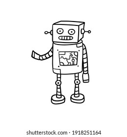 Robot. Doodle character. Metal computer man. Funny children drawing. Friendly Mechanism. Black and white cartoon illustration