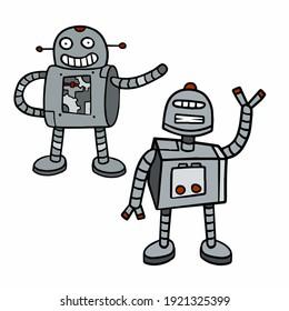 Robot. Doodle character. Metal computer man. Funny children drawing. Friendly Mechanism. Cartoon illustration. Set of cyborgs