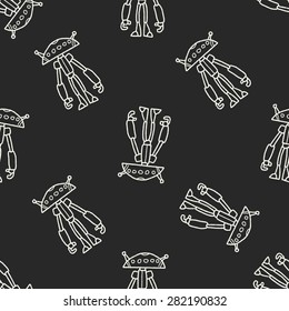robot doodle seamless pattern background