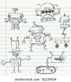 Robot doodles on a notebook paper