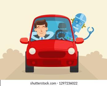 Robot driving a car, male passenger sleeping. Autopilot, self-driving car concept. Unmanned vehicle. Vector illustration, flat cartoon style.
